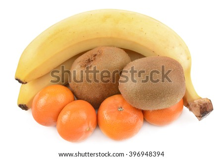 kiwi, bananas and tangerines on a white background - stock photo