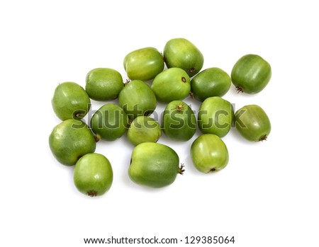 Kiwi berry (Actinidia arguta) is a small fruit resembling the kiwifruit, native to Japan, Korea, Northern China, and Russian Siberia. - stock photo