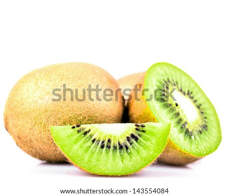 Kiwi fruit and his sliced segments isolated on white background cutout