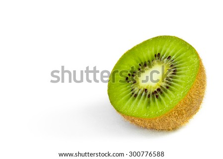 Kiwi fruit chopped isolated on white background - stock photo
