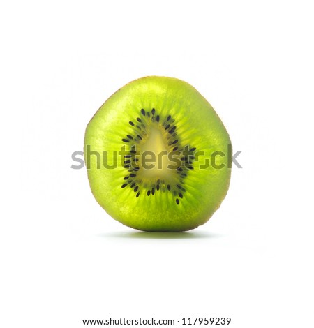 Kiwi fruit in section isolated on white background