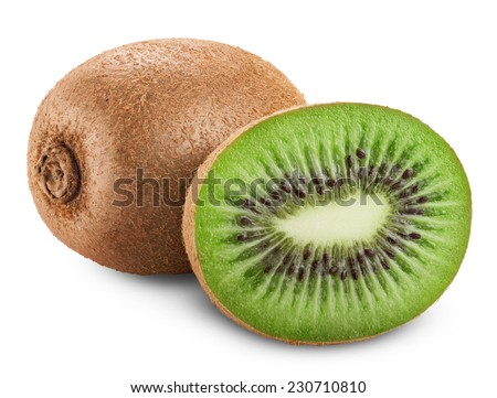 Kiwi fruit isolated on white background. Clipping Path - stock photo