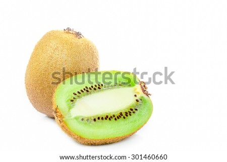 Kiwi fruit isolated on white background, macro - stock photo