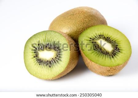 kiwi fruit on white background - stock photo
