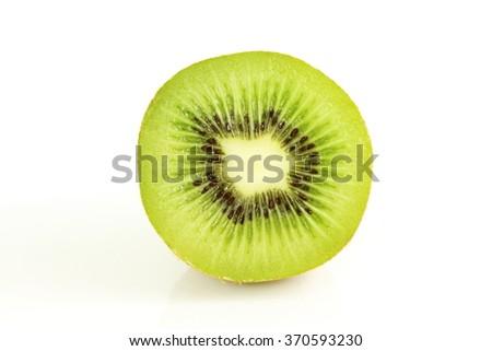 Kiwi fruit slice isolated on white background - stock photo