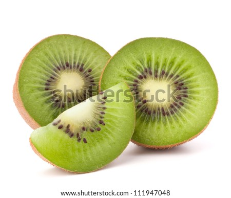 Kiwi fruit sliced segments isolated on white background cutout - stock photo