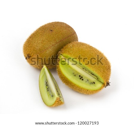 Kiwi fruit with cuts on white background