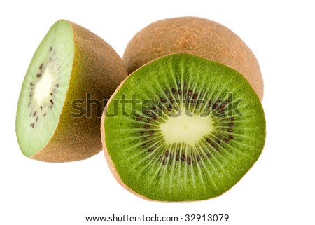 kiwi fruit with seeds in the middle on a white background