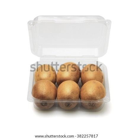 Kiwi Fruits in Open Plastic Container on White Background