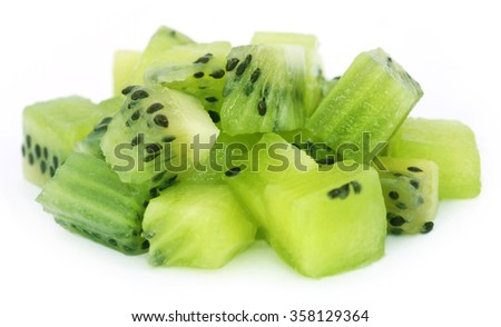 Kiwi fruits over white background