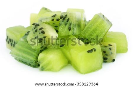 Kiwi fruits over white background - stock photo