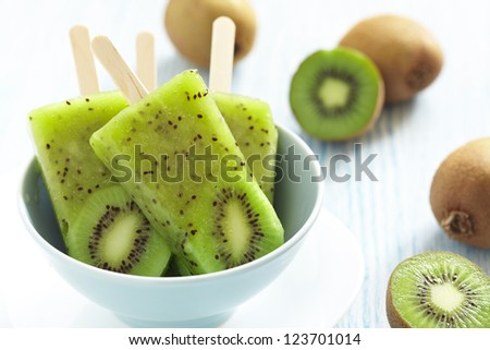 Kiwi Ice Cream Popsicle with Lime - stock photo