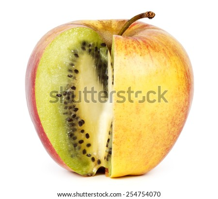 Kiwi in apple. Modification concept. - stock photo