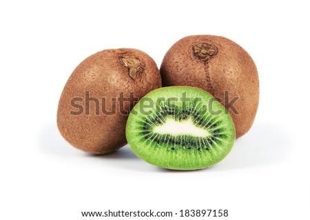kiwi isolated on white background - stock photo