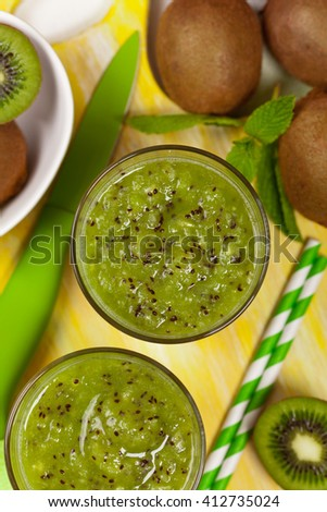 Kiwi Juice Smoothie. Selective focus.