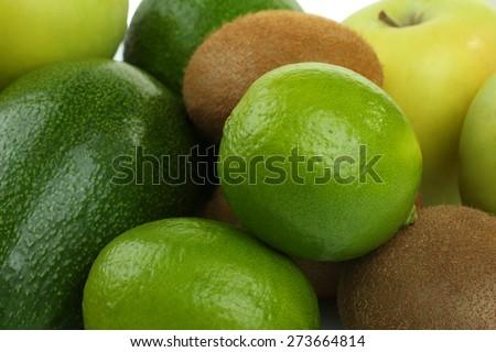 kiwi, lime, apple and avocado  - stock photo