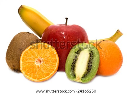 kiwi, mandarines, apple and banana