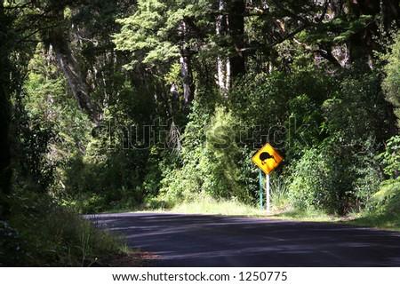 Kiwi road sign - stock photo