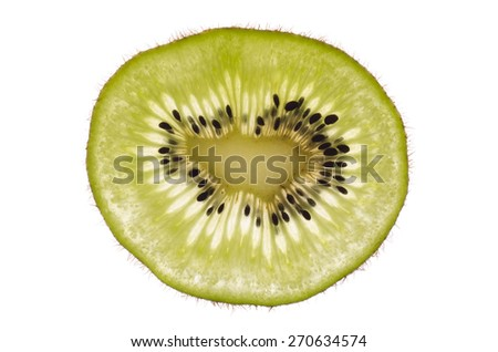 Kiwi slice isolated on white - stock photo