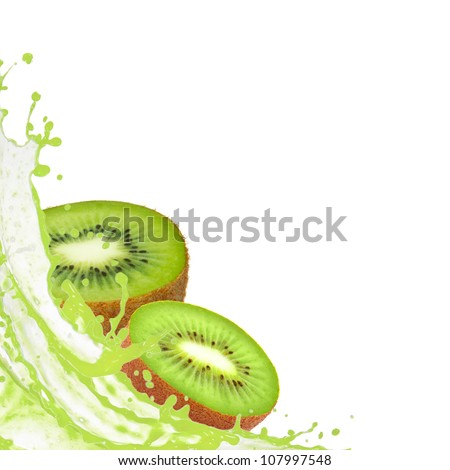 Kiwi slices with splash isolated on white - stock photo