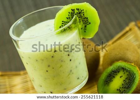 Kiwi Smoothie with fruit - stock photo