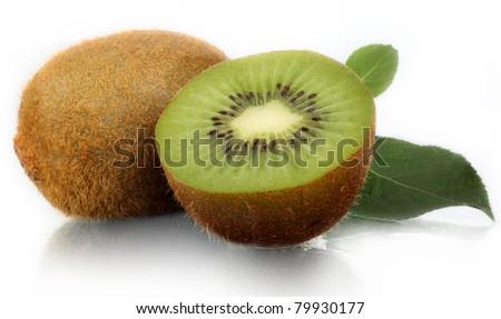 Kiwi tasty fresh on a white background. - stock photo