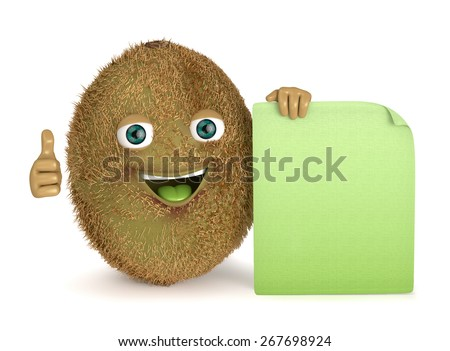 kiwi with a sign - stock photo