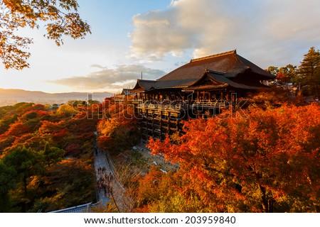 Kiyomizu-dera Temple in Kyoto, Japan  - stock photo
