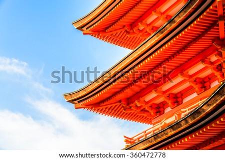 Kiyomizu or Kiyomizu-dera temple in autum season at Kyoto Japan - stock photo