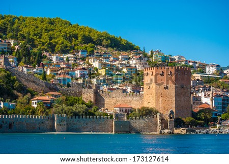 Kizil Kule (Red Tower) in Alanya, Antalya, Turkey - stock photo