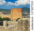 Kizil Kule (Red Tower) - main tourist attraction in Alanya - stock photo