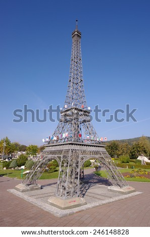 KLAGENFURT, AUSTRIA - OCTOBER 16, 2011: Eiffel Tower in miniature, a replica of the famous Eiffel tower, the most visited monument of France with about 6 million visitors every year.  - stock photo