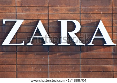 KLAIPEDA - FEBRUARY 4: ZARA logo on February 4, 2014 in Klaipeda, Lithuania. Zara is a Spanish clothing and accessories retailer.