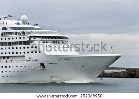 KLAIPEDA,LITHUANIA- AUG 13:cruise liner ORIANA in port by pier on August 13,2012 in Klaipeda,Lithuania.