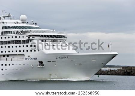 KLAIPEDA,LITHUANIA- AUG 13:cruise liner ORIANA in port by pier on August 13,2012 in Klaipeda,Lithuania. - stock photo