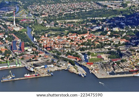 KLAIPEDA,LITHUANIA- AUG 02 :view of the harbor and city on August 02,2011 in Klaipeda, Lithuania.