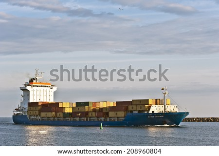 KLAIPEDA, LITHUANIA - AUGUST 01: CONTAINERSHIP in Klaipeda harbor on August 01, 2014 in Klaipeda, Lithuania.