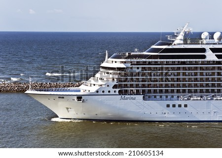 KLAIPEDA,LITHUANIA - AUGUST 11:Cruise liner MARINA on August 11,2014,Klaipeda,Lithuania.