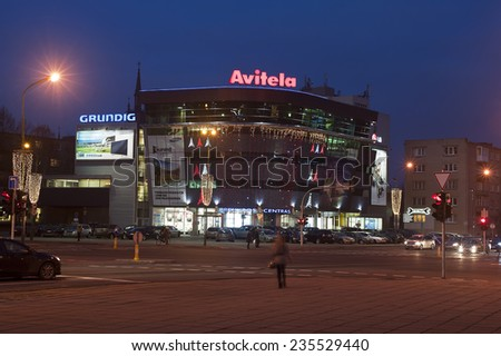 KLAIPEDA,LITHUANIA-DEC 05:AVITELA store at night on December 05.2014 in Klaipeda,Lithuania .Avitelos trade - household, audio and video, computer and digital technology trading company in Lithuania.