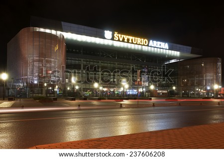 KLAIPEDA,LITHUANIA - DEC 14:  sports arena by night on December 14, 2014 in KLAIPEDA, Lithuania.  - stock photo