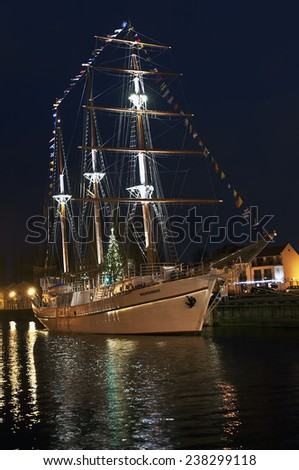 KLAIPEDA,LITHUANIA-DEC 16:view of the sailing ship in the Old Town at night on December 16,2014 in Klaipeda, Lithuania.