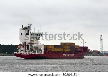 KLAIPEDA,LITHUANIA - JULY 29 : CONTAINERSHIPS in port on July 29 , 2012 , in Klaipeda, Lithuania.