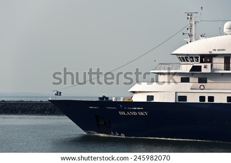 KLAIPEDA,LITHUANIA- JULY 06 cruise liner in port on July 06,2012 in Klaipeda,Lithuania.MS Island Sky is one of our two flagships and one of the finest small ships in the world - stock photo