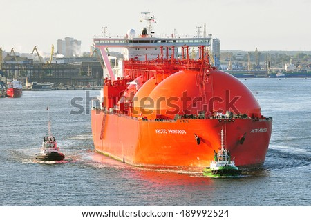 KLAIPEDA,LITHUANIA-JULY 21:LNG Tanker ARCTIC PRINCESS  in the port Klaipeda on July 21,2015 in Klaipeda,Lithuania.ARCTIC PRINCESS is a Liquefied gas carrier registered in Norway.