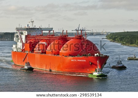 KLAIPEDA,LITHUANIA- JULY 21: LNG Tanker ARCTIC PRINCESS (registered in Norway) in the Baltic sea on July 21,2015 in Klaipeda,Lithuania.