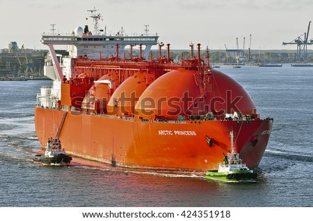 KLAIPEDA,LITHUANIA-JULY 21:LNG Tanker ARCTIC PRINCESS (registered in Norway) in the port Klaipeda on July 21,2015 in Klaipeda,Lithuania.ARCTIC PRINCESS  is a Liquefied gas carrier registered in Norway