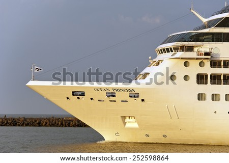 KLAIPEDA, LITHUANIA - JULY 06: Luxure cruise liner OCEAN PRINCESS in port on July 06,2012 in Klaipeda, Lithuania. - stock photo