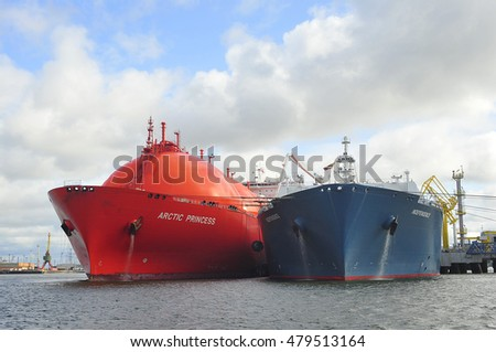 KLAIPEDA,LITHUANIA- JULY 20:The LNG Tanker ARCTIC PRINCESS (registered in Norway) and liquefied-natural-g as (LNG) ship Independence in Klaipeda port on July 20,2015 in Klaipeda,Lithuania.