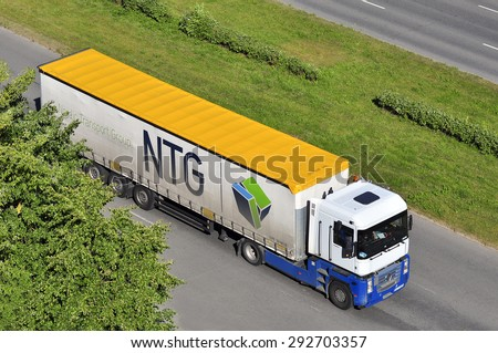 KLAIPEDA,LITHUANIA-JULY 02:  truck on the street on July 02,2015 in Klaipeda,Lithuania.