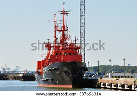 KLAIPEDA,LITHUANIA-JULY 03:Tug in the harbor  on July 03,2015 in Klaipeda,Lithuania.
